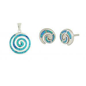 Blue Opal Coil Pendant and Stud Earrings Set
