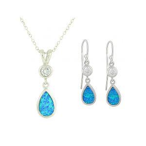 Blue Opal Crystal Mount Teardrop Necklace and Earrings Set
