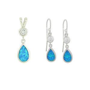 Blue Opal Crystal Mount Teardrop Pendant and Earrings Set