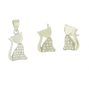 Cubic Zirconia Relaxed Cat Pendant and Stud Set