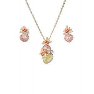 Butterfly and Crystal Pendant Necklace and Earrings Set