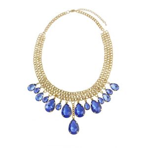 Blue Teardrop Multi Layered Statement Necklace