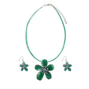 Green Enamel Flower Pendant Necklace and Earrings Set