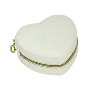 Small Heart Jewellery Travel Box - White